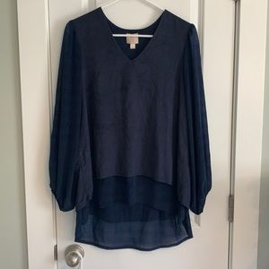 Hot in Hollywood Navy Blouse w/Balloon Sleeves